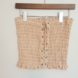 Free People ruched lace up crop top